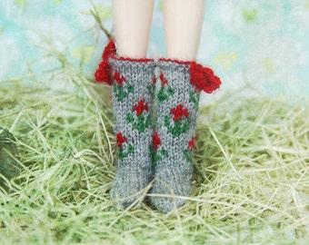 jiajiadoll- Hand Knit- grey flower bowknots socks fits momoko- blythe -Misaki- Unoa light- Lati yellow