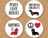 "Doxie Dachshund Magnet Set of 4 1.25"" 1-1/4 inch - Doxie Set No. 2"