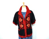 Hand Knit and Cross stitched Sweater Black and Red Button front, Elbow Sleeve Womens Cardigan