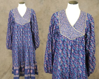 vintage 70s Ethnic Tent Dress - Blue and Purple Floral Boho Dress 1970s Hippie Festival Dress Sz M L