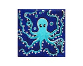 Teeny Weeny OSCAR the Blue Octopus ORIGINAL Pocket Painting