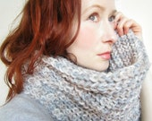 Chunky Knit Scarf,Knit Cowl,Grey Scarf