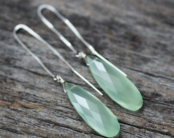 Green Chalcedony Dangle Earrings /  Mint Sea Green Gemstone Faceted  Sterling Silver Every Day Earrings / Moss Modern Simple Earrings
