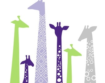 "SALE! 1/3 off 8X10"" modern giraffe silhouettes giclee print on fine art paper. lavender, dark purple, lime green, gray."