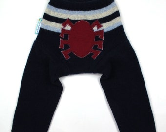 "WOOL LONGIES - Wool Diaper Cover - ""Spidey Sense"" - Medium 9-18m"