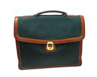 French VIntage Green Briefcase