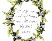 We Will Serve the Lord - Watercolor Art Print - Hand Lettering - Woodland Home Decor
