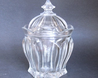 Antique Pressed Glass Beautiful Jar with Lid  EAPG Colonial Sugar Bowl or Pickle Pot