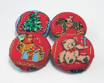 Red Christmas (Presents) Fabric Buttons, Four Different Handmade Buttons 29 mm for Sewing and Crafts