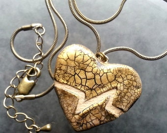 Heart Necklace : Brass and Copper Beating Heart REVERSIBLE Mosaic Tile Pendant