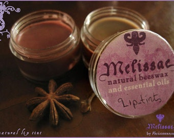 1 Natural mineral solid lip tint or colored lipbalm- Melissae serie of beeswax and essential oils goodies-