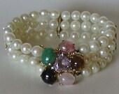 Gorgeous 3 Strand Cultured Pearls, 14K Gold and Gemstones Vintage Bracelet circa 1950s