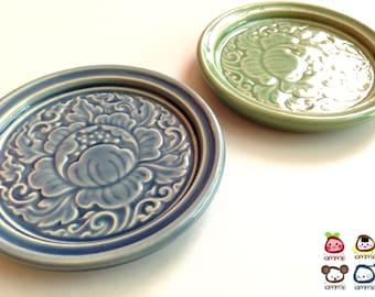 Blue Ceramic Saucer, Ceramic Plate, ceramic dish, flower, thai, thailand, bali, mini, small, decoration, luxury, luxurious, embossed