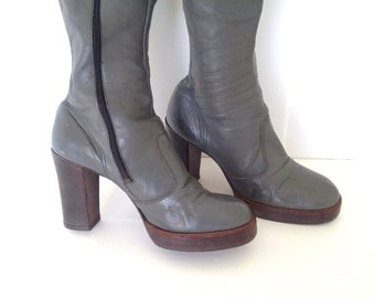 RARE Vintage 1970's Grey Leather Platform Skinny Ankle OTK / Cuff Pirate Boots Size 10