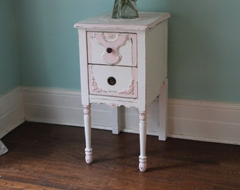 antique nightstand shabby chic pink white distressed bedroom girl cottage sold custom order