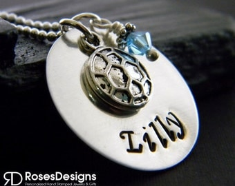Personalized Handstamped Soccer Necklace- Birthstone Necklace, Sports Jewelry, Personalized Gifts, by RosesDesigns
