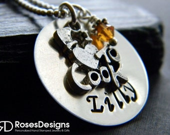 Personalized Chef Necklace, I love to cook necklace, Cook Necklace, Chef, Handstamped Necklace, by RosesDesigns