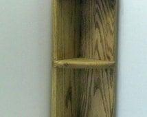 Oak Corner Shelf , Handcrafted , Re-Purposed Wood