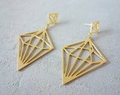 Geometric Diamond Post Earrings, Geometric earings, signature earings, Architectural jewelry
