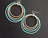Copper Hoops - Patina Hoop earrings - Double Oxi Design - handmade copper jewelry - handmade in Austin, Tx