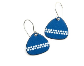 White and Blue Drop Earrings, Modern Enamel Jewelry, Copper and Sterling Silver / Handmade in Latvia