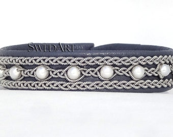 SwedArt B98 Madeleine Sami Leather Bracelet with PEARLS Pewter Button Dark Gray X-SMALL