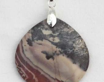 Exotica Porcelain Jasper Wide Pear-Shaped Pendant - crystal of wisdom