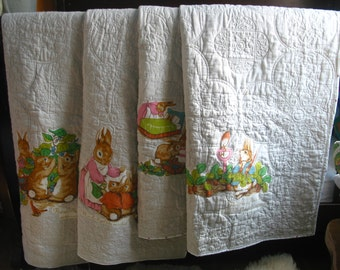 Beatrix Potter Peter Rabbit blanket baby quilt crib toddler nursery hand made 100%COTTON, AOAK personalized