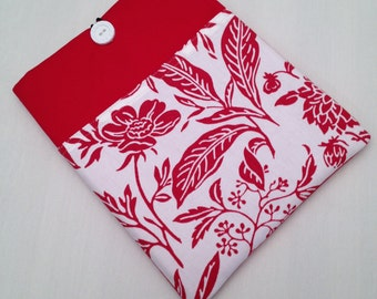 """macbook air 13"""" padded sleeve /macbook 13"""" retina case .   Made in Maine/ Red and White Floral"""