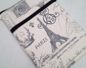 "Macbook air 13"" padded sleeve  / Macbook pro 13"" /  Made in Maine / Paris design fabric"