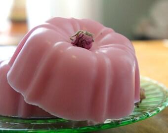 Shea Butter Soap- large 7oz. bar  VINTAGE ROSE Soap Tea Cake- Rose Soap Cake with dried pink rose buds, Mini Tea Cake Soap Cake. Spring Soap