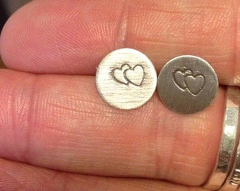 Hand stamped soldered sterling silver post earrings double hearts hand stamped silver jewelry