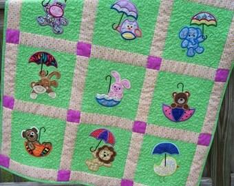 Umbrella Critter Applique Baby Quilt
