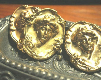 Natural Patina Brass Cameo Victorian Lady - Vintage brass stamping