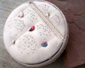 Vintage Sewing Box , Antique French Pink Silk box with Antique Buttons, Pin Cushion , Sewing Needle Safe, and Sterling Thimble