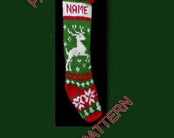 Hand knit Christmas stocking,  pattern only, reindeer, snowflake and tree
