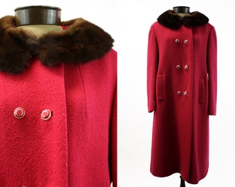 Vintage Fur Collar Mad Men Style Dark Fuschia Heavy Woman's Coat