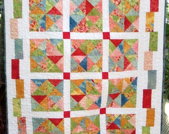 Beautiful Handmade Baby Girl Quilt, Colorful Baby Quilt, Bright Baby Quilt