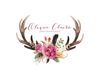 Watercolor Logo Photography Logo Feather Logo Antler Logo Rustic Logo Boutique Logo Rustic Wedding Monogram Flower Logo Design Watermark