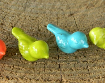 Ceramic Miniature bird  choose (1) Tiny  colorful bird  Ceramic  glazed statue figurines miniature Fairy Garden animals