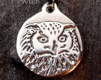 Mystic Owl - Pewter Pendant - Owls Wisdom and Insigts, Nature Jewelry, Inner Vision