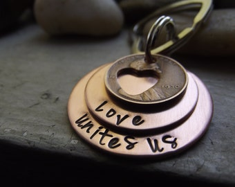 Words of Wisdom keychain, Heart cut out Lucky Penny two ring Keychain, Graduation keychain, Mothers day gift, Inpirational gift