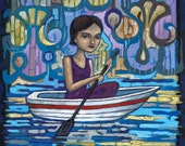 Floating Through Dreams (Girl in Row Boat) 8x10 Art Print by Anastasia Mak
