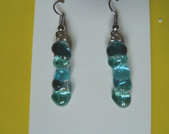 Hypo-Allergenic Sea Blue Textured Dichroic Glass Drop Earrings with Surgical Steel Ear Wires