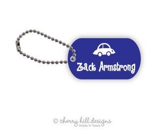 BLUE CAR Mini lunchbox tags - set of 2