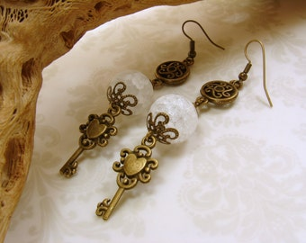 Antique Brass and Natural Crackle Quartz Dangle Earrings with Keys