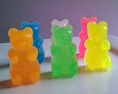 Sparkling Gummy Bear Soap Set - Neon colors - Glycerin Soap - Watermelon Scented - Novelty Soap - Teen - Gift for Her - Shaped Soap - Easter