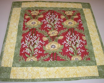 Quilted Table Runner / Table Topper/ Wall Hanging , Red and Yellow Floral, 19 x 19 inches