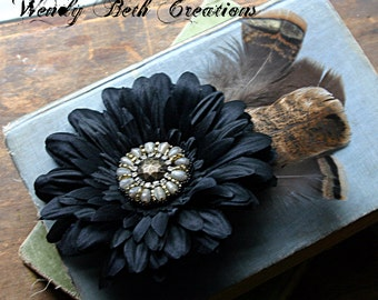 Turkey Dance Hair Clip Fascinator - Cruelty Free Feather, Vegan, Black, Daisy, Beaded Medalion
