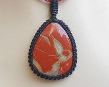 Red jasper pendant -  gemstone macrame pendant - drop pendant - red jasper macrame pendant - gift idea